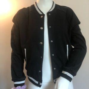 SO black and white varsity  jacket